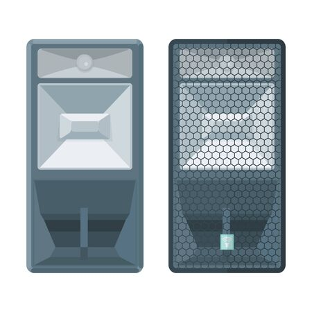 vector colored flat design horn system concert satellite speakers with protection grid illustration