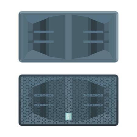 Koruma ızgara illüstrasyon vektör renkli düz tasarım boynuz sistemi çift subwoofer hoparlör