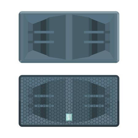 vector colored flat design horn system double subwoofer speakers with protection grid illustration