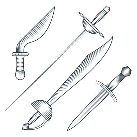 vector black color medieval pirate sword dagger dirk engraving style illustration set white background
