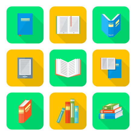 vector color flat design books square icons set long shadow Illustration
