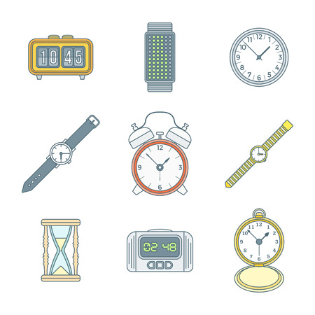 vector colored outline various types watches clocks icons set