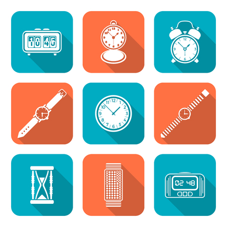 vector white color flat design various types watches clocks icons set long shadow Illustration