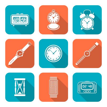 vektör beyaz renk düz tasarım çeşitli uzun gölge set saatler simgeleri saatler