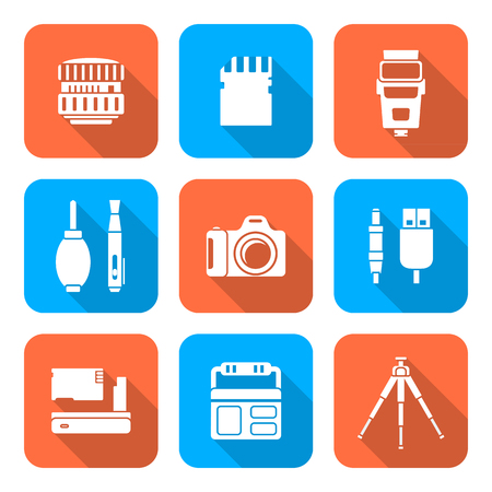 reflex camera: vector white color flat design square various digital photography equipment icons long shadow