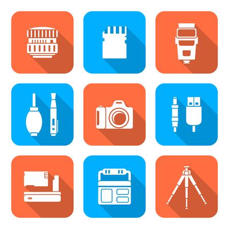 vektör beyaz renk düz tasarım kare çeşitli dijital fotoğrafçılık ekipmanları simgeleri uzun gölge Illustration