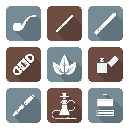 tobacco product: vector white color flat design various tobacco goods accessories square icons set long shadow
