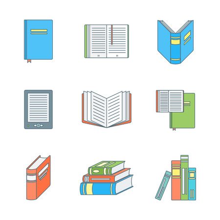 electronic book: vector colored outline books icons set