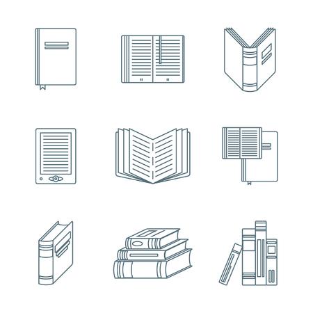 handbook: vector dark grey color outline books icons set white background Illustration