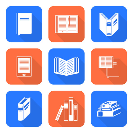 digest: vector white color solid flat design books square icons set long shadow