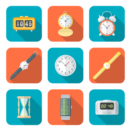 vector color flat design various types watches clocks icons set long shadow Illustration
