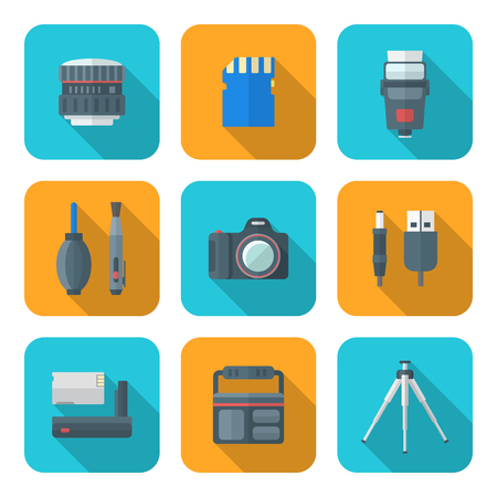 lens brush: vector color flat design square digital photography equipment icons long shadow