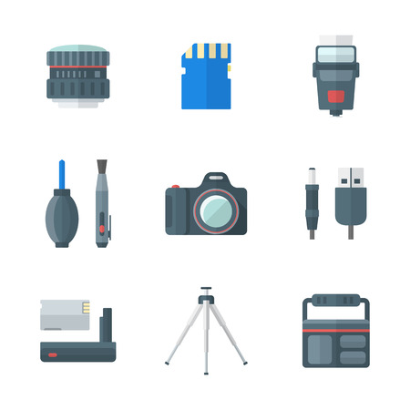 lens brush: vector color flat design isolated digital photography equipment icons white background
