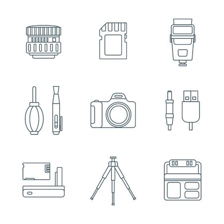 lens brush: vector grey outline various digital photography equipment icons white background