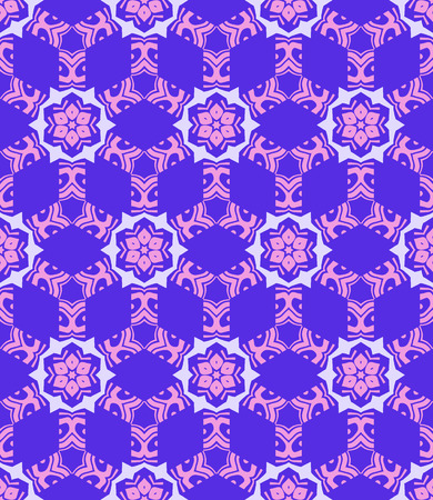 blue violet: vector colorful abstract geometric kaleidoscopic blue violet pink seamless pattern Illustration