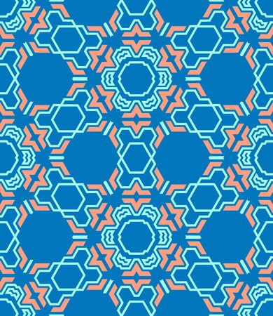 vector colorful abstract geometric kaleidoscopic blue red seamless pattern
