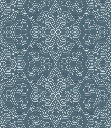 vector white outline geometric abstract monochrome mosaic seamless pattern dark gray background
