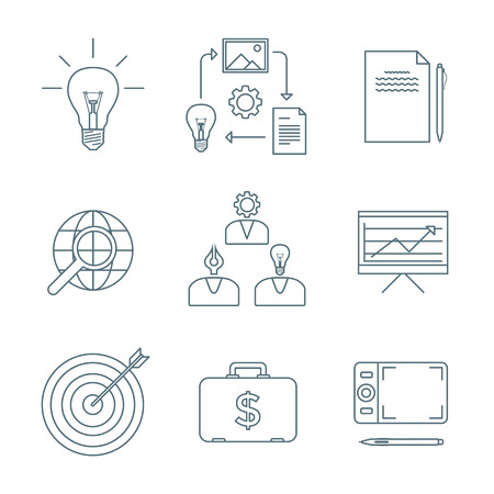 creator: vector dark grey outline creative business process icons set white background Illustration