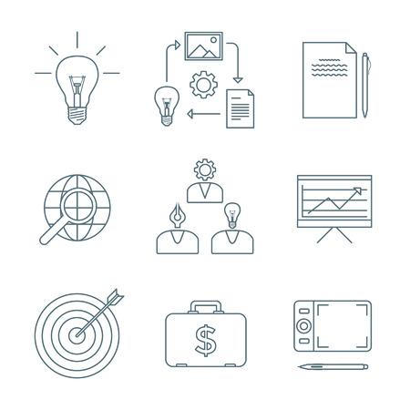 vector dark grey outline creative business process icons set white background Ilustração