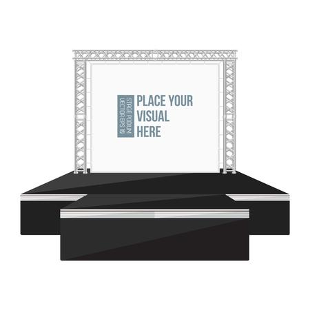 Metal kafes üzerindeki afiş ile vektör siyah renk düz tarzı yüksek podyum sahne