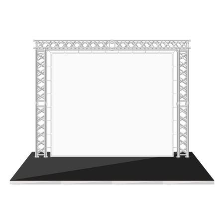 Metal kafes üzerindeki afiş ile vektör siyah renk düz stil düşük aşama Illustration