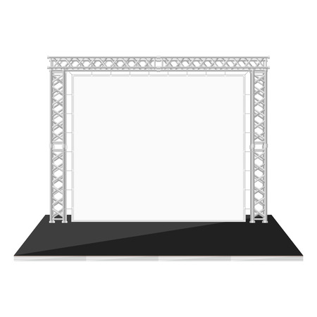 stage lighting: vector black color flat style low stage with banner on metal truss
