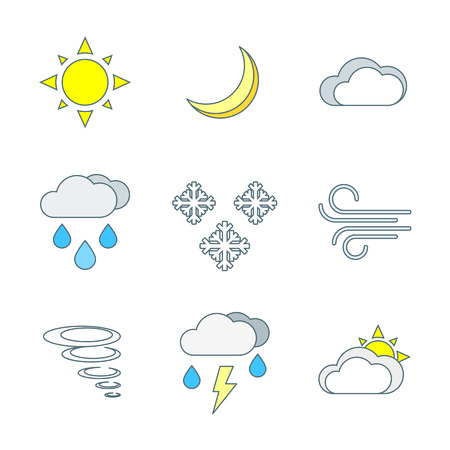 partly: vector colored outline weather forecast icons set white background Illustration