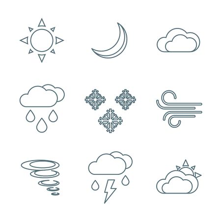 downfall: vector dark grey outline weather forecast icons set white background