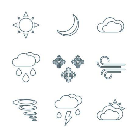 precipitation: vector dark grey outline weather forecast icons set white background