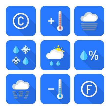 sleet: vector color flat design outline weather forecast icons set long shadow