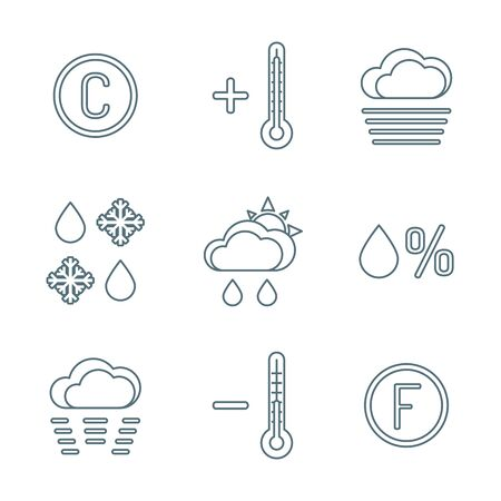 vector dark grey outline weather forecast icons set white background