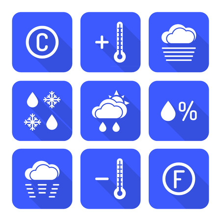 humidity: vector solid white color flat design outline weather forecast icons set long shadow
