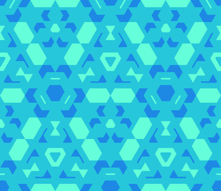 vector blue cyan green color abstract geometric seamless pattern Illustration