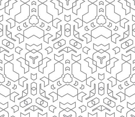 vektör koyu monokrom renk anahat soyut geometrik seamless pattern beyaz arka