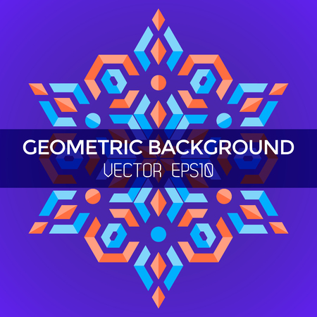 vector symmetric colorful abstract geometric blue orange red jewels star violet background Illustration