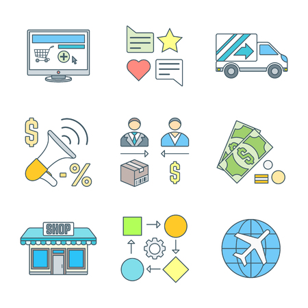 direct sale: vector colored outline business distribution marketing process icons set white background