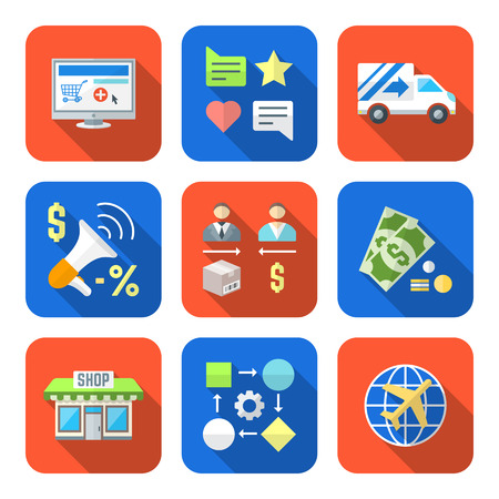 direct sale: vector colorful flat design business distribution marketing process icons set long shadows