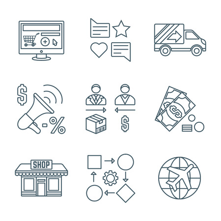 pr: vector dark grey outline business distribution marketing process icons set white background Illustration