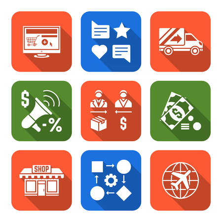vector solid white flat design business distribution marketing process icons set long shadows
