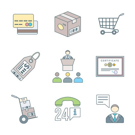 vector colored outline design business distribution marketing process illustration icons set white background