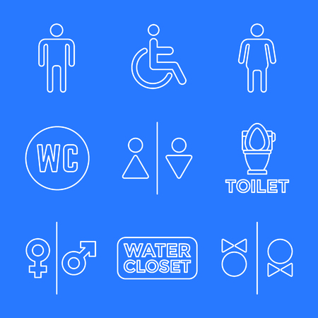 vector various white color outline water closet signs toilet restroom icons set blue background