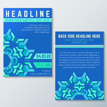 front and back: vector blue green abstract flyer invitation poster template front back side Illustration
