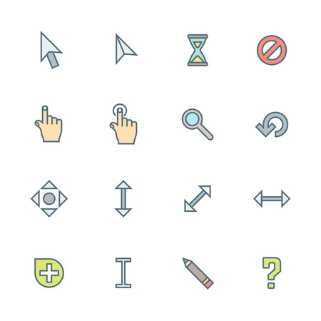 vector colored outline various computer cursors signs collection white background