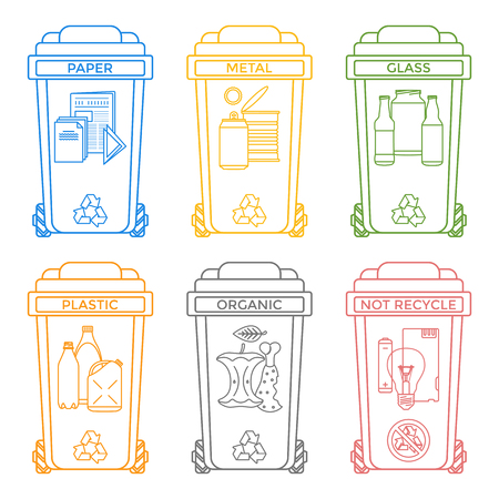 hazardous material: vector various colors outline separated recycle waste bins icons labels signs white background