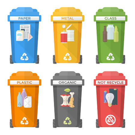 recycle: vector colorful flat design separated recycle waste bins icons labels signs white background long shadows