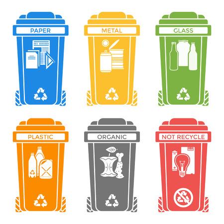 reciclar: vector varios colores reciclaje separados contenedores de residuos s�lidos iconos etiquetas signos fondo blanco Vectores