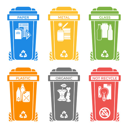 hazardous material: vector various colors separated recycle waste bins solid icons labels signs white background