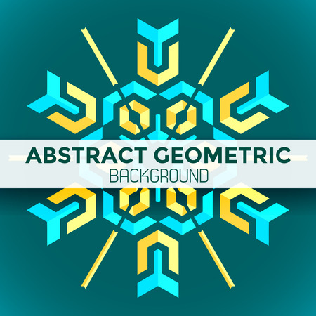 vector blue yellow green colorful mandala abstract geometric background Illustration