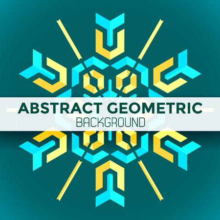 vektör mavi, sarı, yeşil renkli mandala soyut geometrik plan
