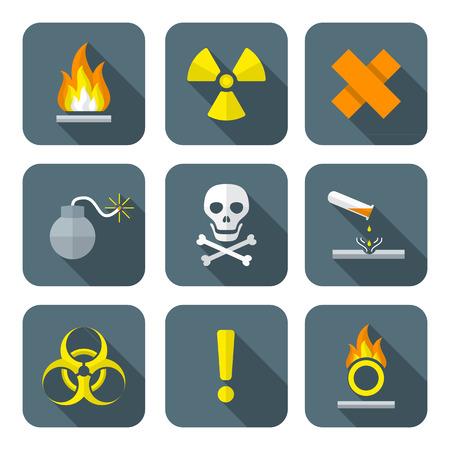 hazardous waste: colorati stile piatto rifiuti pericolosi simboli segni premonitori icone lunghe ombre Vettoriali